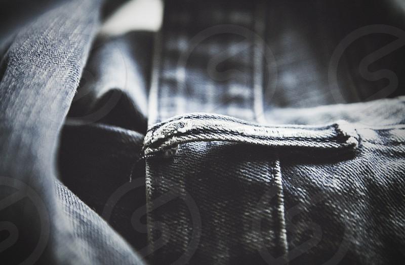 jeans raw denim distressed belt loop beltloop belt-loop blue blue jeans worn worn in worn-in distress photo