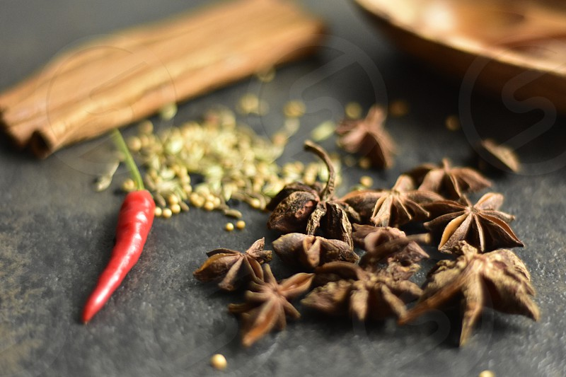 Spices tea autumn season lay flat closeup anise stars  photo