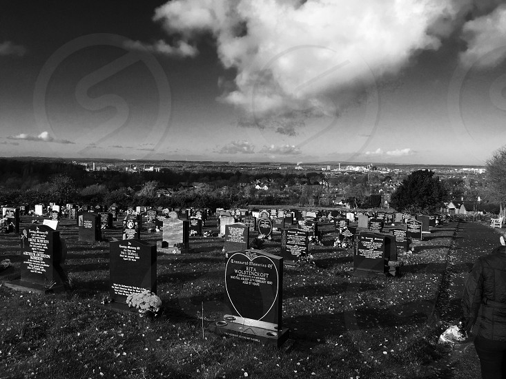 Croft cemetery. Overlooking Cheshire.  photo