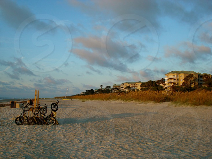 Bikes on the beach at sunrise. Hilton Head Island SC photo