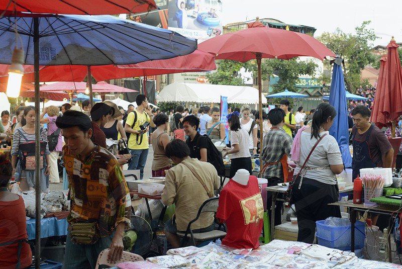 a nightmarket at the Citywalll in the city of chiang mai in the north of Thailand in Southeastasia.  photo
