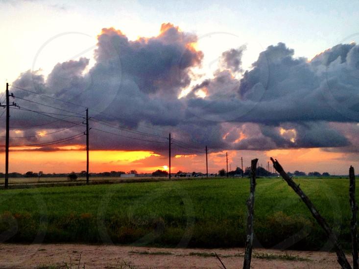 Laredo Texas sunrise overlooking a field photo