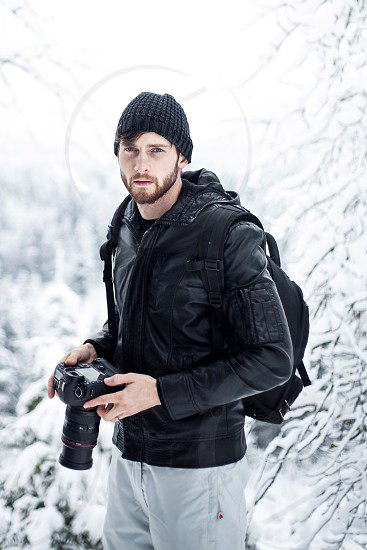Beard camera canon leather man winter forest photo