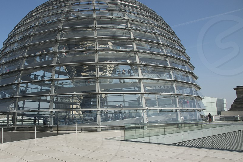 Glass dome on top of the  Reichstag building - Berlin with view all over Berlin. photo