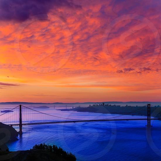 Golden Gate Bridge San Francisco sunrise California USA from Marin headlands photo
