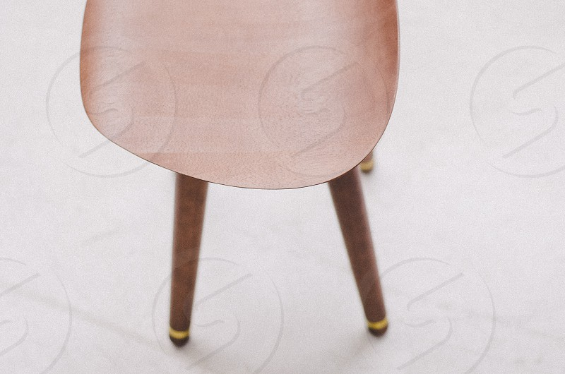 top view of brown wooden stool photo