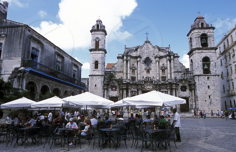 the Plaza de la Catedral in the old town of the city Havana on Cuba in the caribbean sea. photo