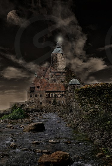 Spooky Castle: A composite of several images to create a surreal scene. photo