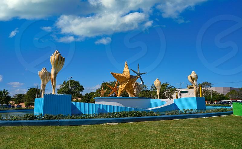 Cancun Plaza Ceviche square with fountain in Mexico photo