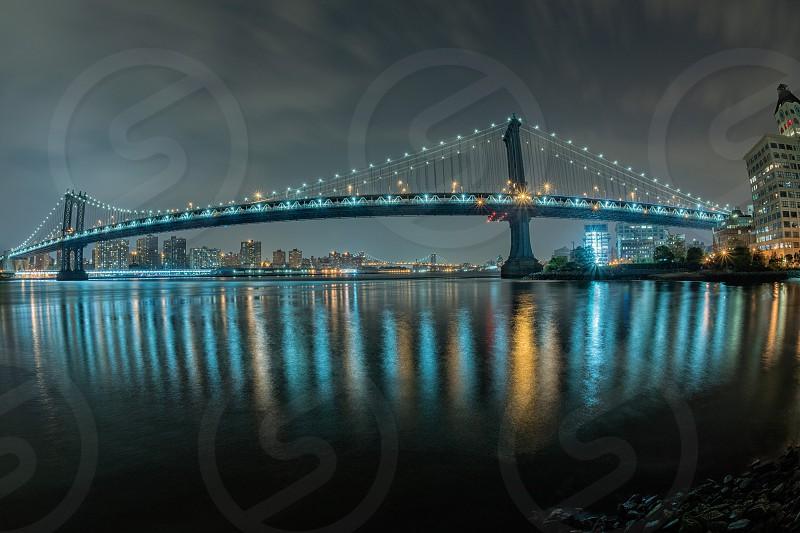 new york manhattan night view from brooklyn photo