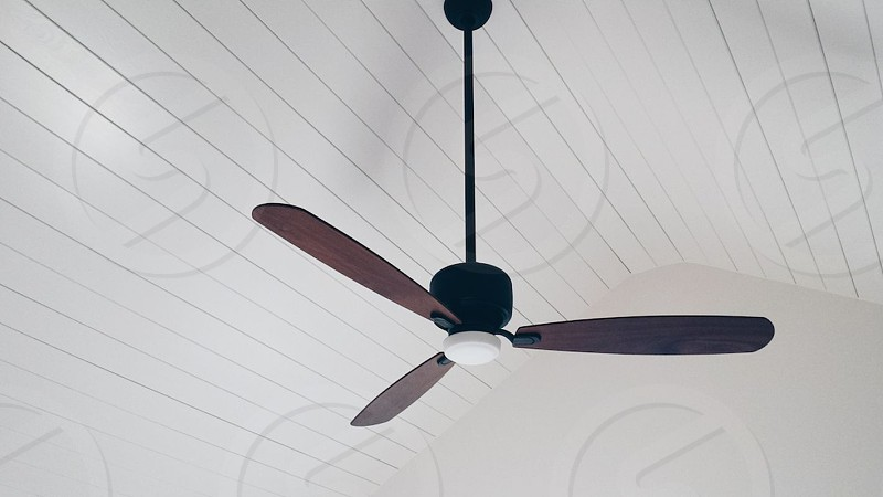 brown and black 3-blade ceiling fan inside room photo