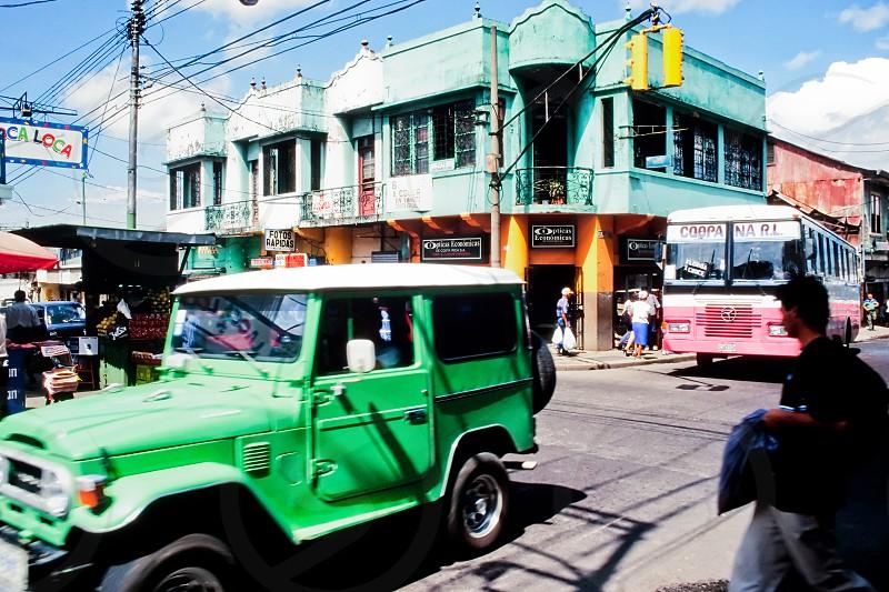 Busy street scene in San Jose capital of Costa Rica photo