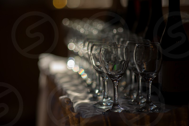 Wine Glasses On Party Table photo