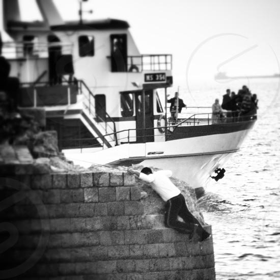 Israel black and white jewish ocean photo