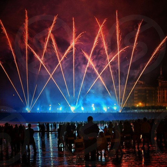 fountain fireworks display photo