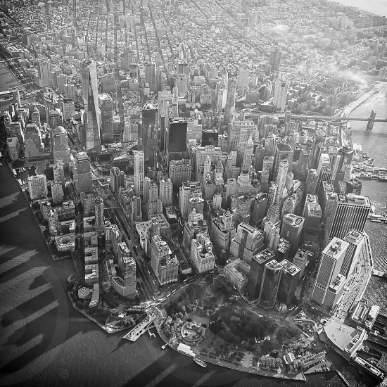 top view of city buildings in black and white photo