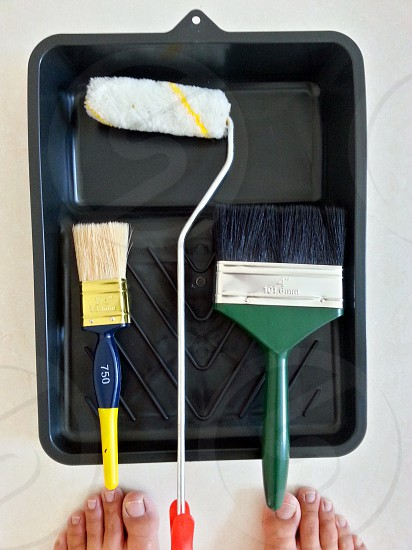 red handled paint roller between two paint brush photo