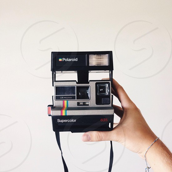 black polaroid camera photo