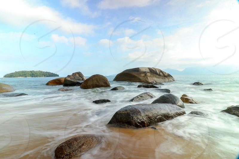 long exposure rocky beach photo