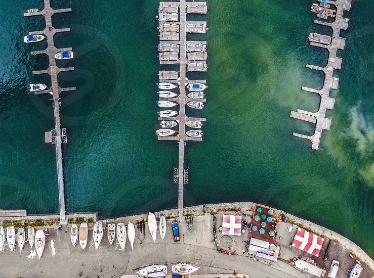 Drone Colorado marina harbor aerial photography boats water lake  photo