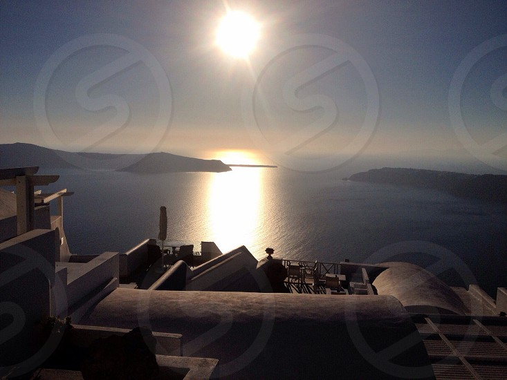 Catching the light of the evening sun over the calderasantorini photo