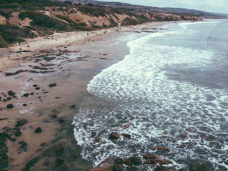 bird eye view of ocean waves photo