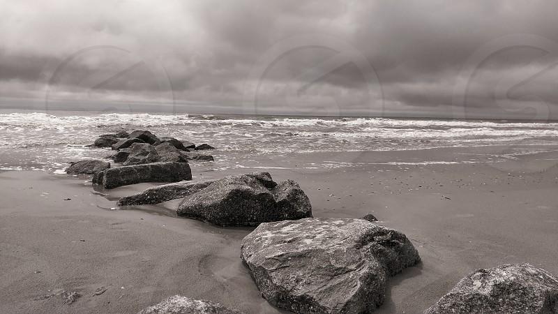 Folly Beach beach waves sand gray photo