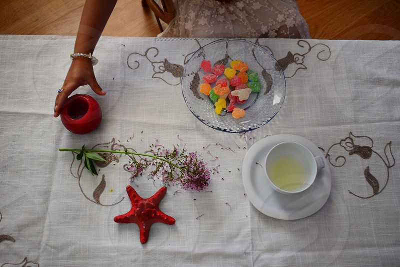 table elegant stylish kids childhood Candy sweet gummy starfish candle tablecloth cup drink food flower deco home snack photo