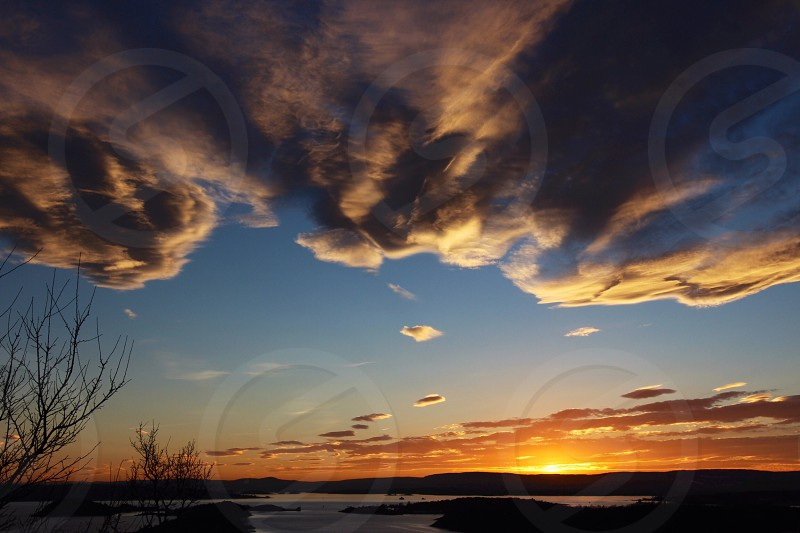 sunset view by the marshland photography photo