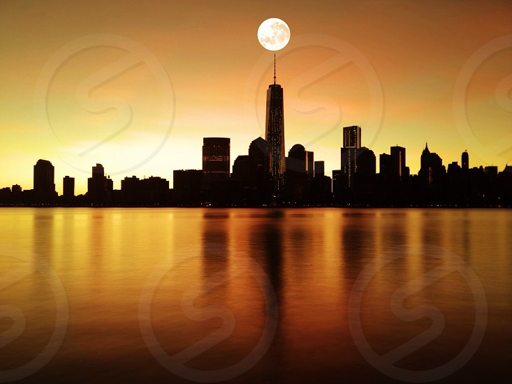 city view with full moon photo