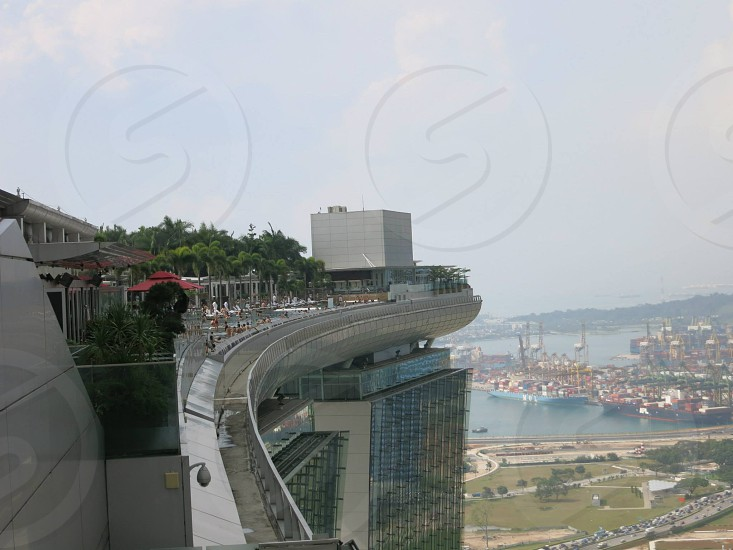 view of marina bay sands roof deck photo