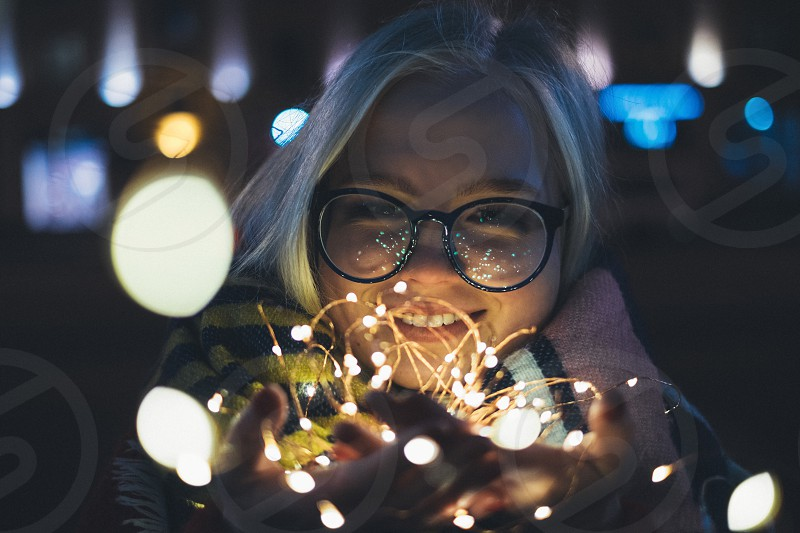 woman and sparkles photo