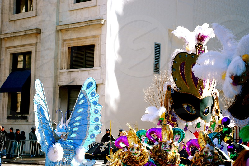 Event Mummers Parade Philadelphia New Years Day Puppets Masks Floats Architecture Urban Street. photo