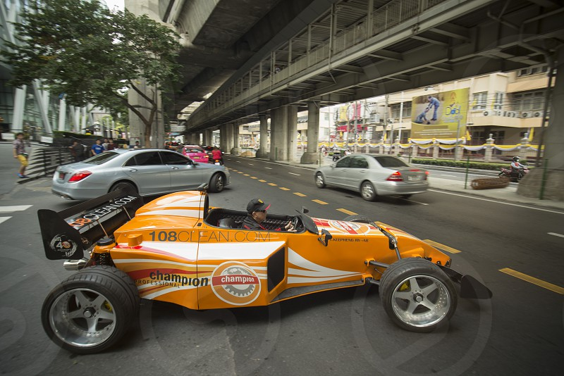 a racing car in the streets of Siam Square in the city of Bangkok in Thailand in Southeastasia. photo
