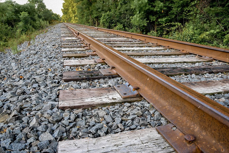 Railroad tracks rural steel iron rust photo