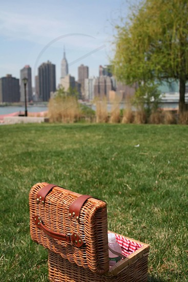 Picnic at Gantry State Park Long Island City NY New York City with a view of Manhattan skyline photo