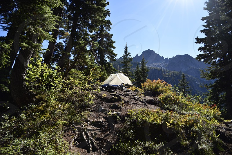 Mountain backpacking tent camping forest trees adventure travel photo