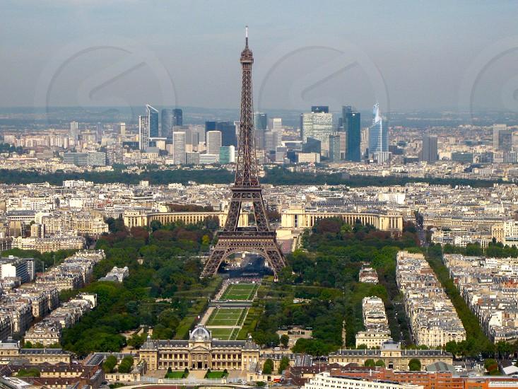 Eiffel Tower Champ de Mars La Defense Paris France photo