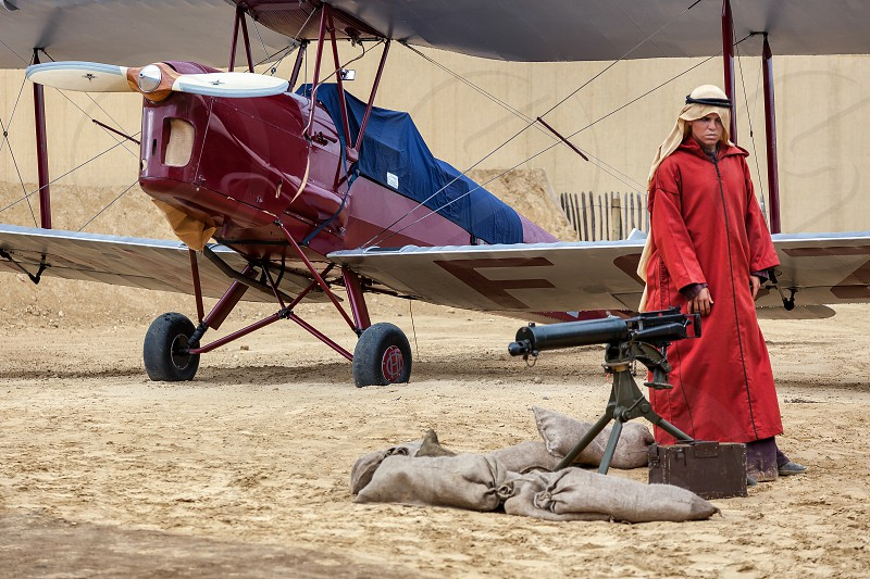 Bedouin Guarding WW1 Aircraft in the Desert photo