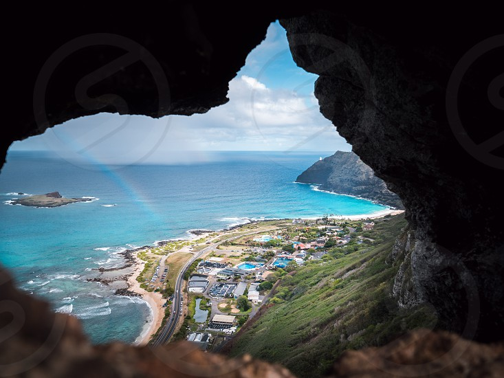 Makapuu beach view from a cave in Hawaii  photo