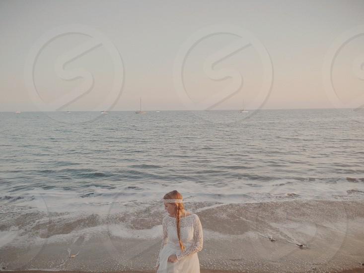 woman near beach photography  photo