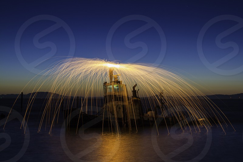 Steel Wool Long Exposure on Abandoned Ship photo