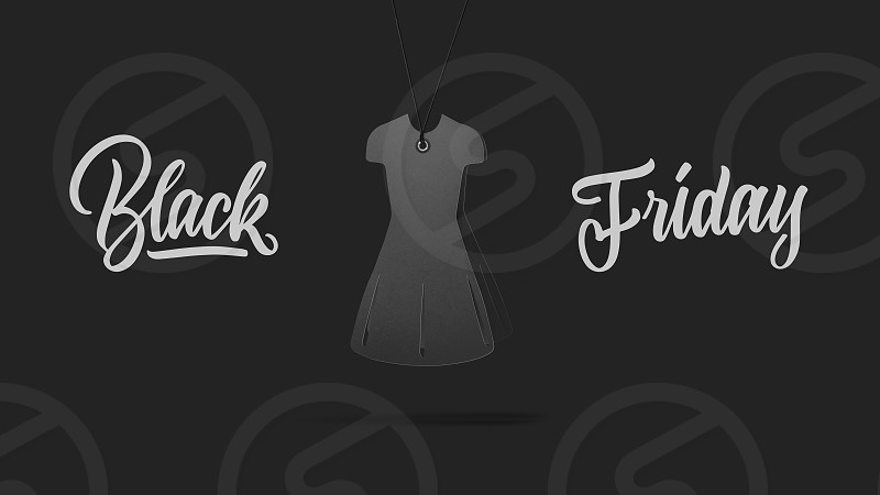 label in shape womens dress made of cardboard on high hill on a gray background.a Calligraphic text black Friday and sales luxury premium style concept photo
