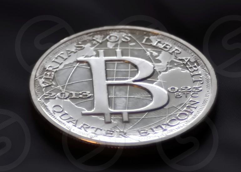 Bitcoin money coin virtual currency silver gold finance tech technology future world photo
