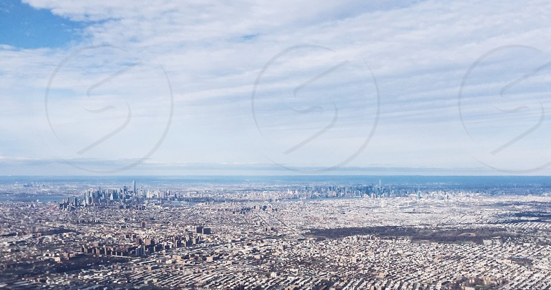 Looking over Manhattan skyline from the air. photo