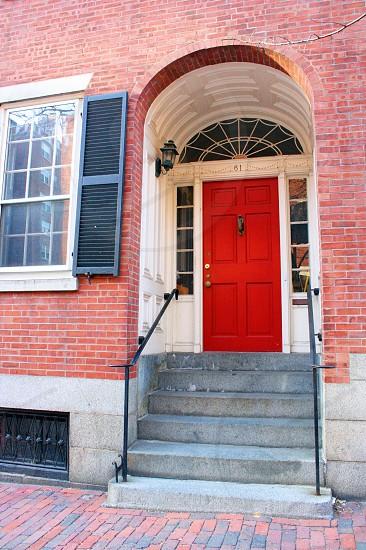 Boston city red door photo