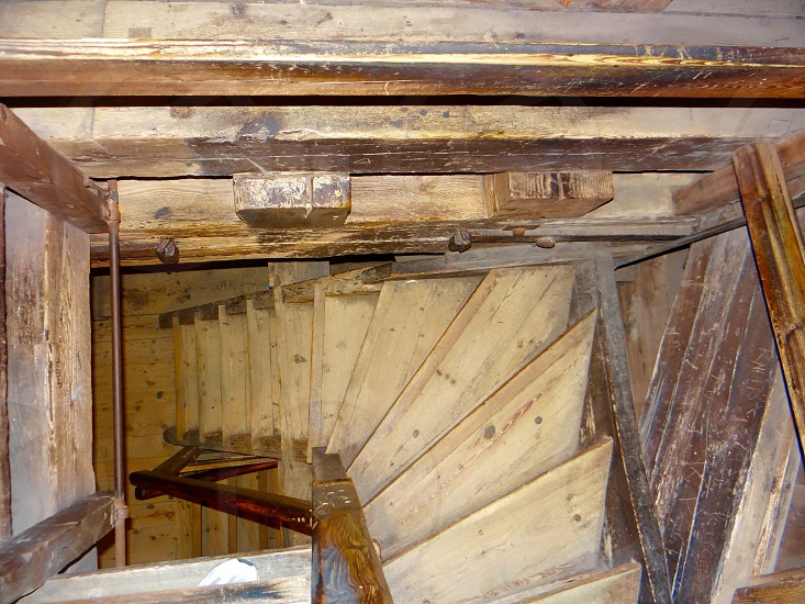 Wooden staircase. Ireland. Banratty castle.  photo