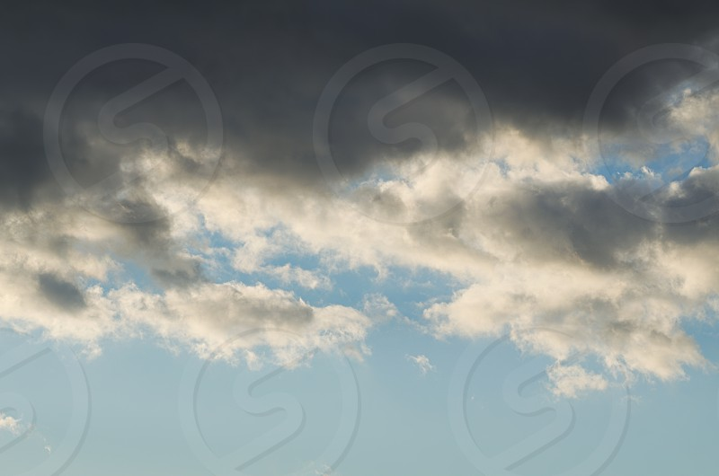 Grey Clouds on the Blue Sky Horizontal Cloudscape photo