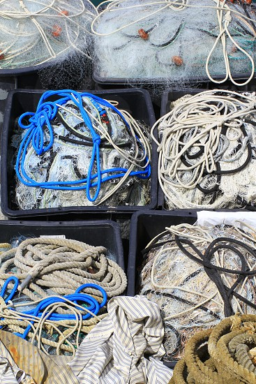 Tools used for industrial fishing with net and rope. photo