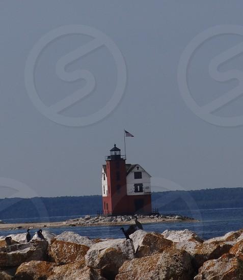 Lighthouse near Mackinac Michigan photo